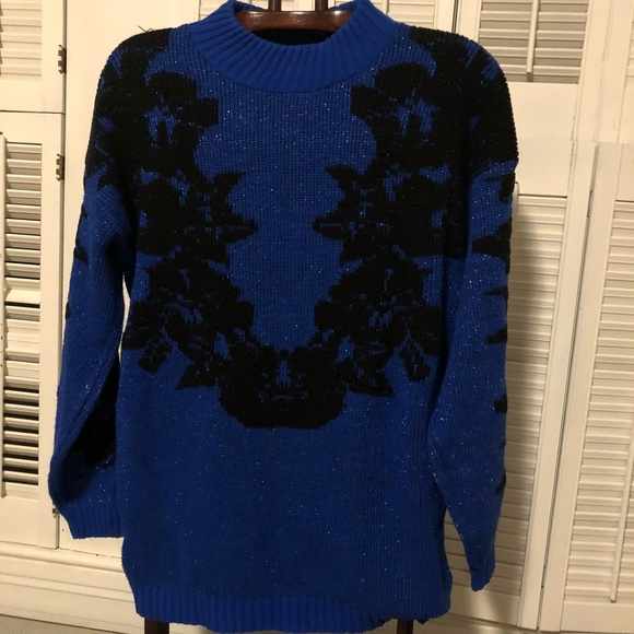 Vintage Sweaters - Vintage Blue and Black Sparkly Floral Sweater